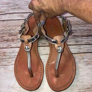Coach Clarkson Sandal Size 5 Metallic Silver/Bown